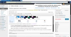 Google Chrome detecta el cambio de tema y automaticamente pregunta si se desea utilizar un tema de alto contraste en el navegador