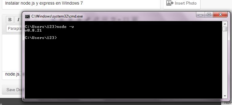 Instalar node.js y express en Windows 7 (3/4)