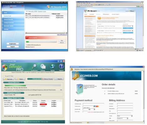 Algunos falsos antivirus