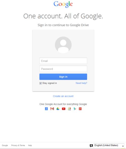 Figura 1. Página de phishing de inicio de sesión Google Docs