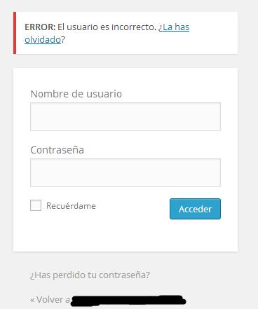 Intento de acceso con usuario inexistente en la base de datos