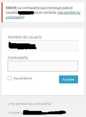WP anuncia que el usuario existe en la base de datos