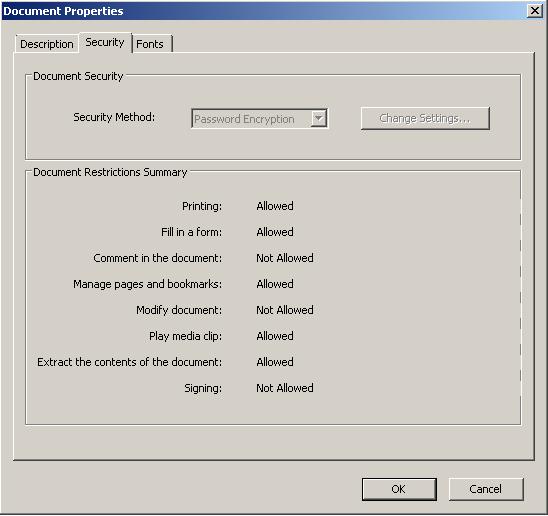 Captura que ilustra un PDF que tiene configurado permisos especiales para evitar que sea modificado o se añadan anotaciones