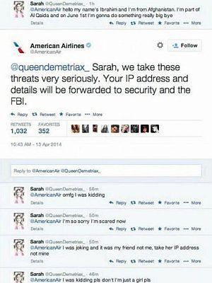 """El mensaje de la niña y la respuesta de American Airlines: """"Sarah, nos tomamos estas amenazas muy en serio. Tu dirección IP y detalles serán enviados a seguridad y al FBI""""."""