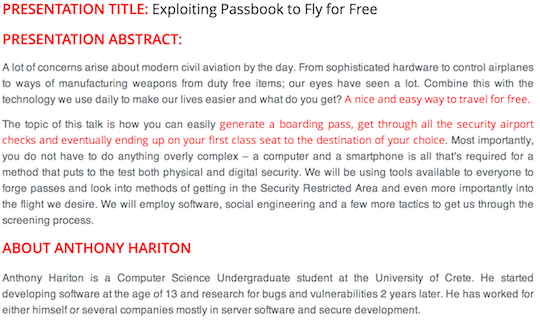 Figura 1: Descripción de la charla sobre hacking Passbook que se dará en HITB Amsterdam 2014